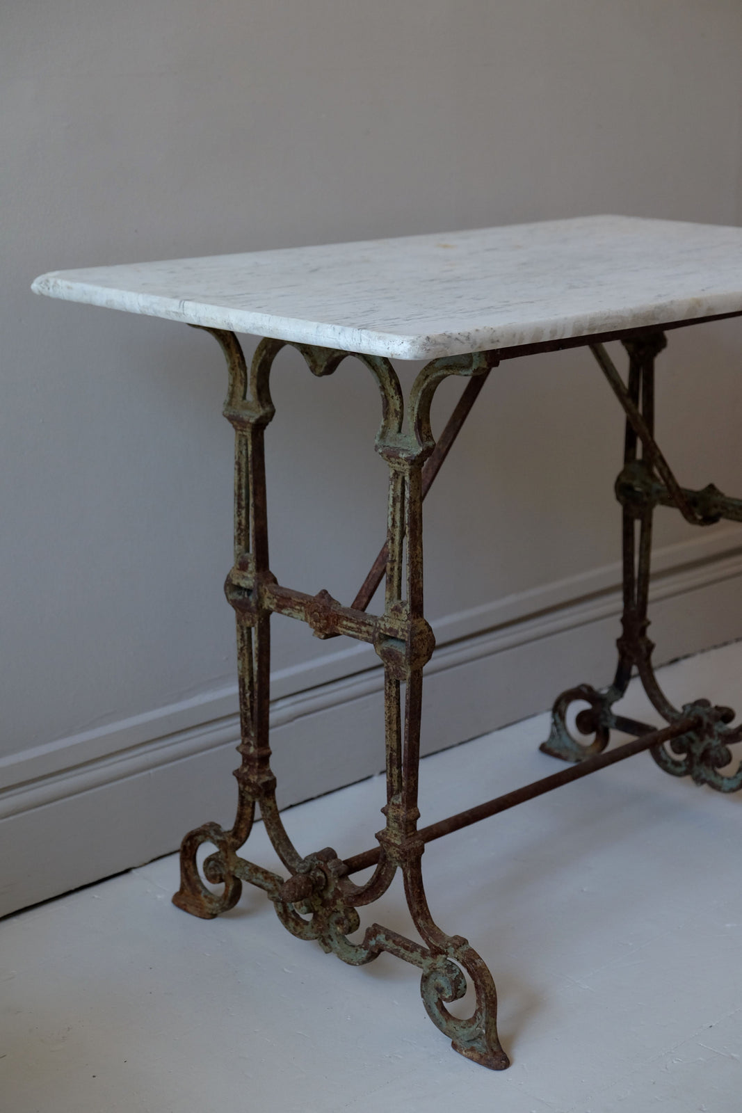 19th C. Iron Table Base with Period Marble Top