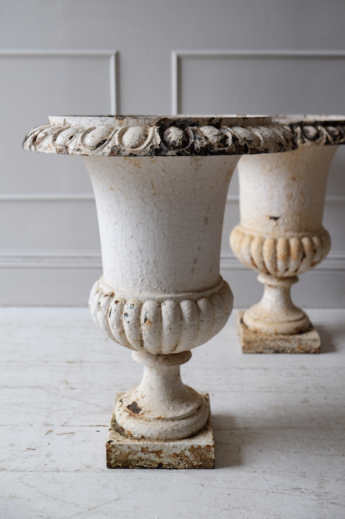 Pair of 19th C. French Cast Iron Urns