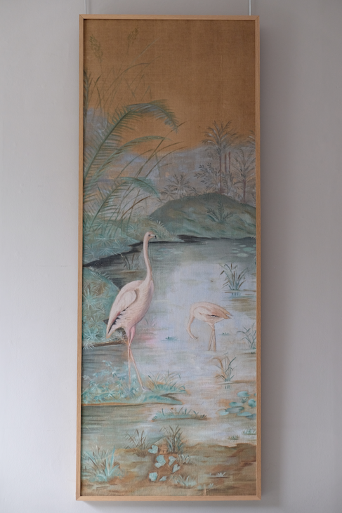 Painted Linen Canvas of Flamingos c.1900