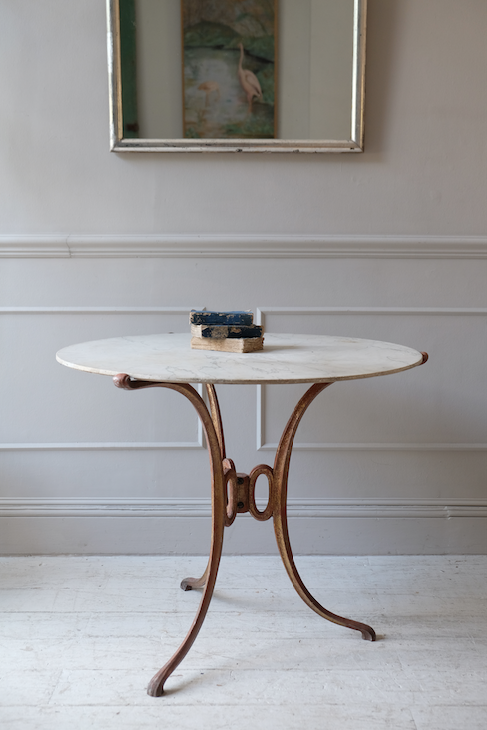 French Marble Top Table with Iron Base c.1900