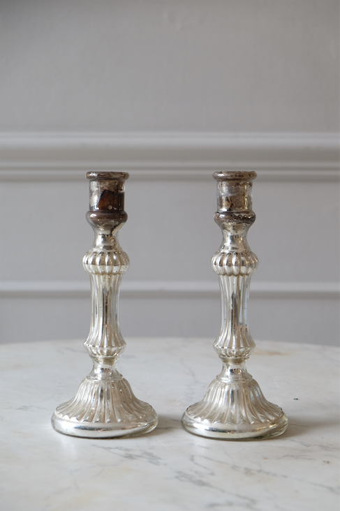 Pair of 19th C. French Mercury Candlesticks