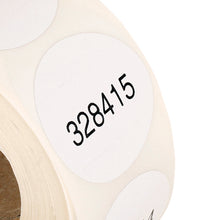 Load image into Gallery viewer, Self Destruct Label | 38mm round | White | Pre-printed | Serial Numbered (1000 label roll)