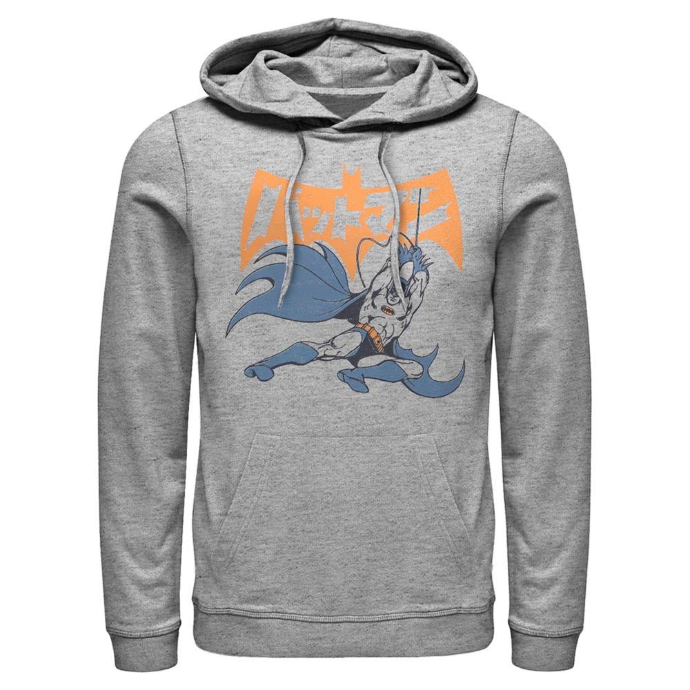 Grey Heather BATMAN Swing Into Action with Japanese Logo Hoodie Image