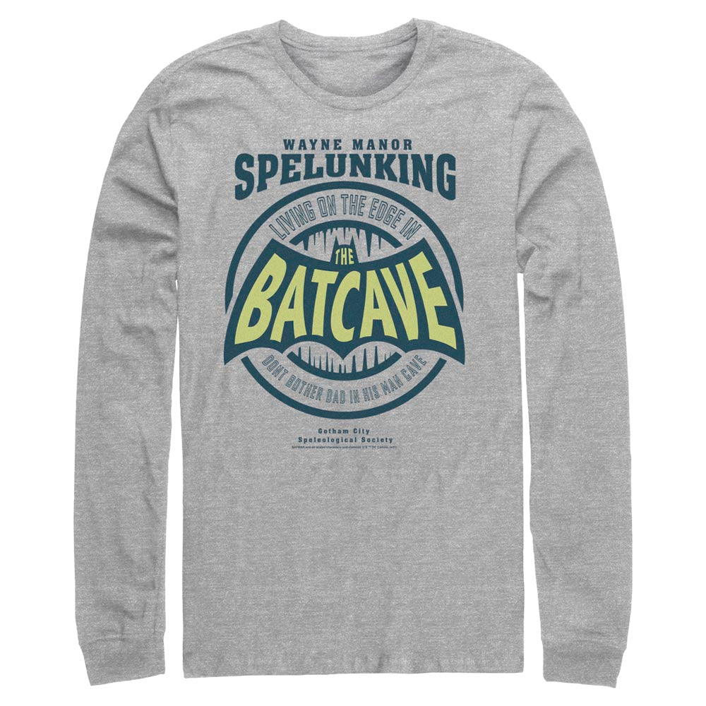 Grey Heather DC FATHER'S DAY Batman Dad Cave Long Sleeve Tee Image