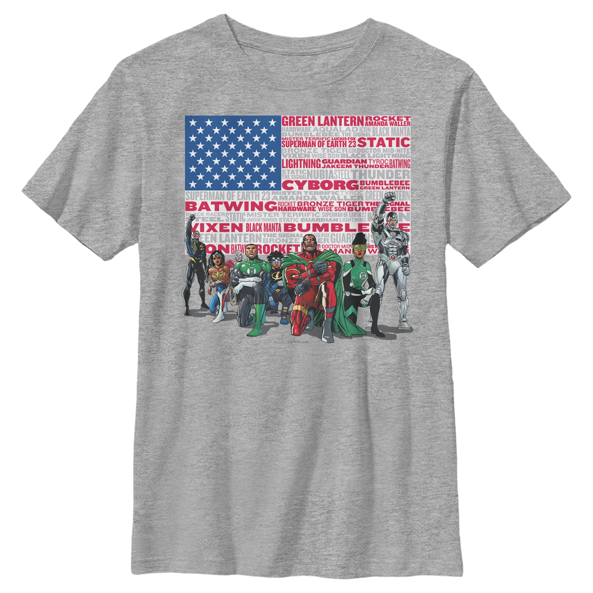 Grey Heather DC HEROES KIDS' T-SHIRT FEATURING ART BY DENYS COWAN Image