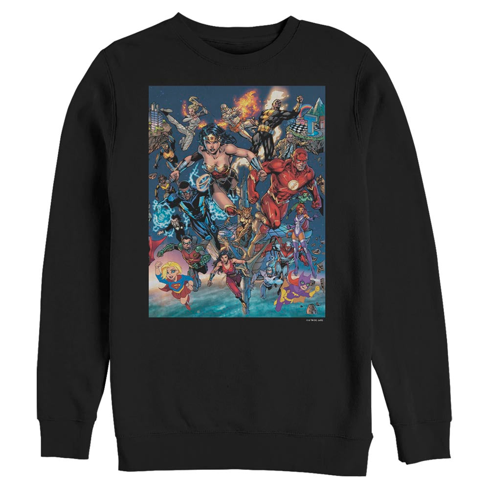 DC Universe Triptych Crew Sweatshirt featuring art by Jim Lee, Middle Panel