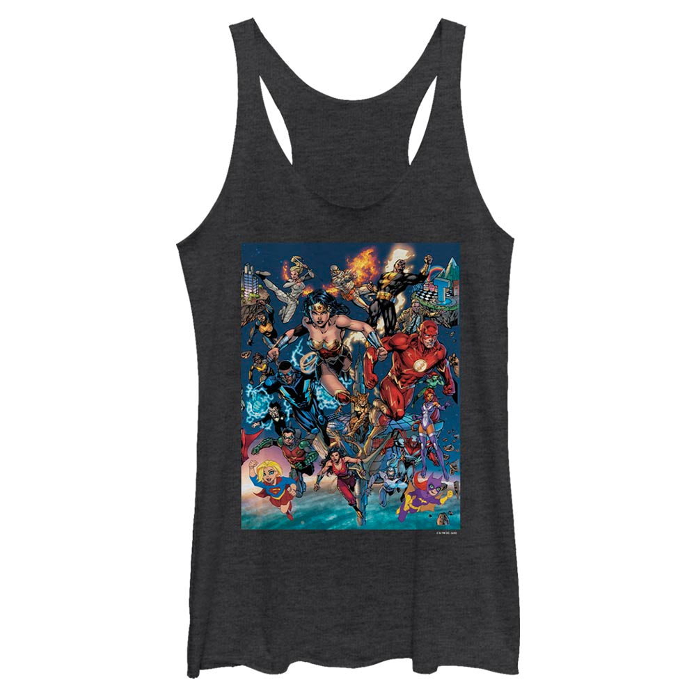 DC Universe Triptych Women's Racerback Tank featuring art by Jim Lee, Middle Panel