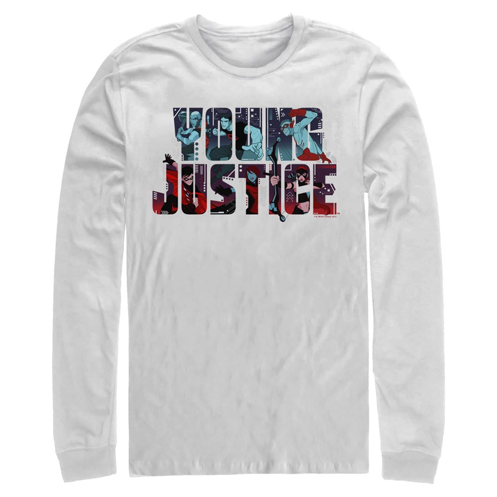 White YOUNG JUSTICE CHARACTERS LOGO Long Sleeve Tee Image