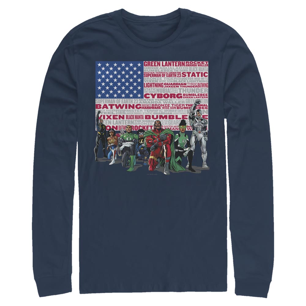 Navy DC HEROES Long Sleeve Tee featuring art by Denys Cowan Image