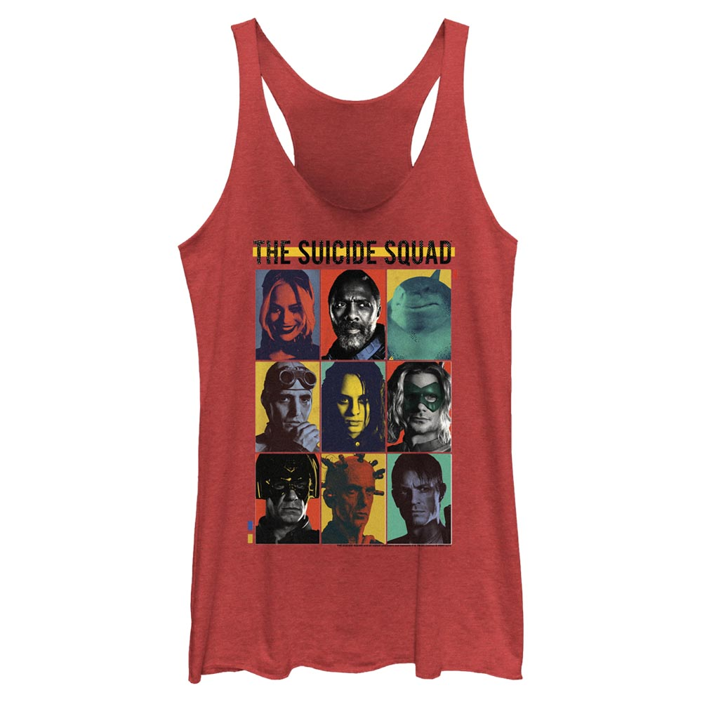Red Heather THE SUICIDE SQUAD Team Lineup Women's Racerback Tank Image