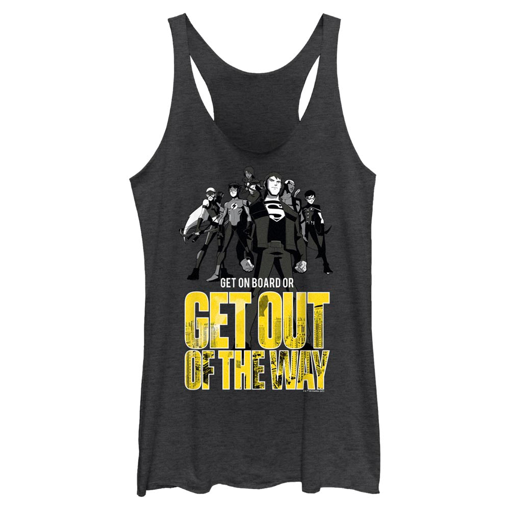 Black Heather YOUNG JUSTICE Get Out Of The Way Women's Racerback Tank Image