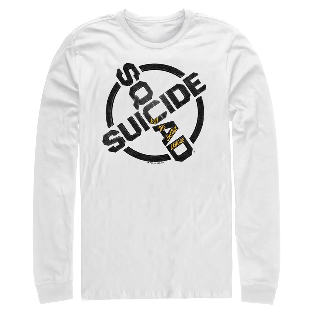 White SUICIDE SQUAD: KILL THE JUSTICE LEAGUE Logo Long Sleeve Crew Tee Image
