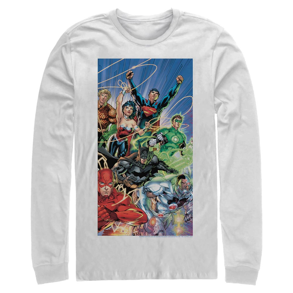 White Justice League Long Sleeve Tee featuring art by Jim Lee Image