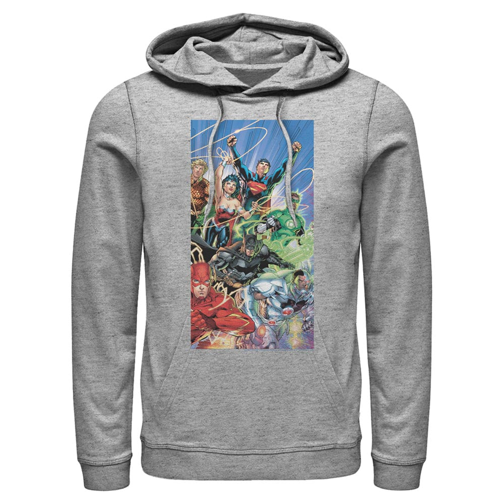 Grey Heather Justice League Hoodie featuring art by Jim Lee Image