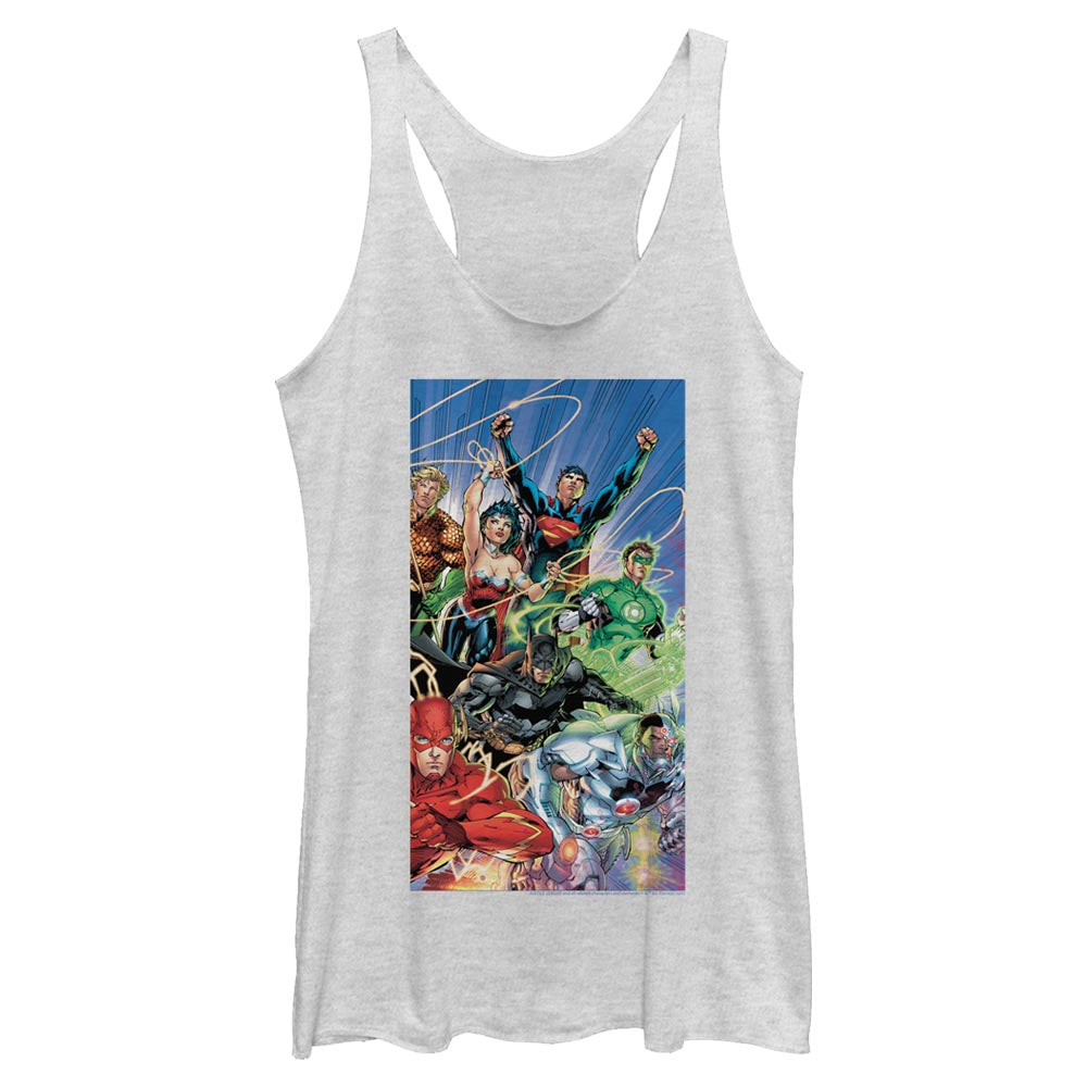White Heather Justice League Women's Racerback Tank featuring art by Jim Lee Image
