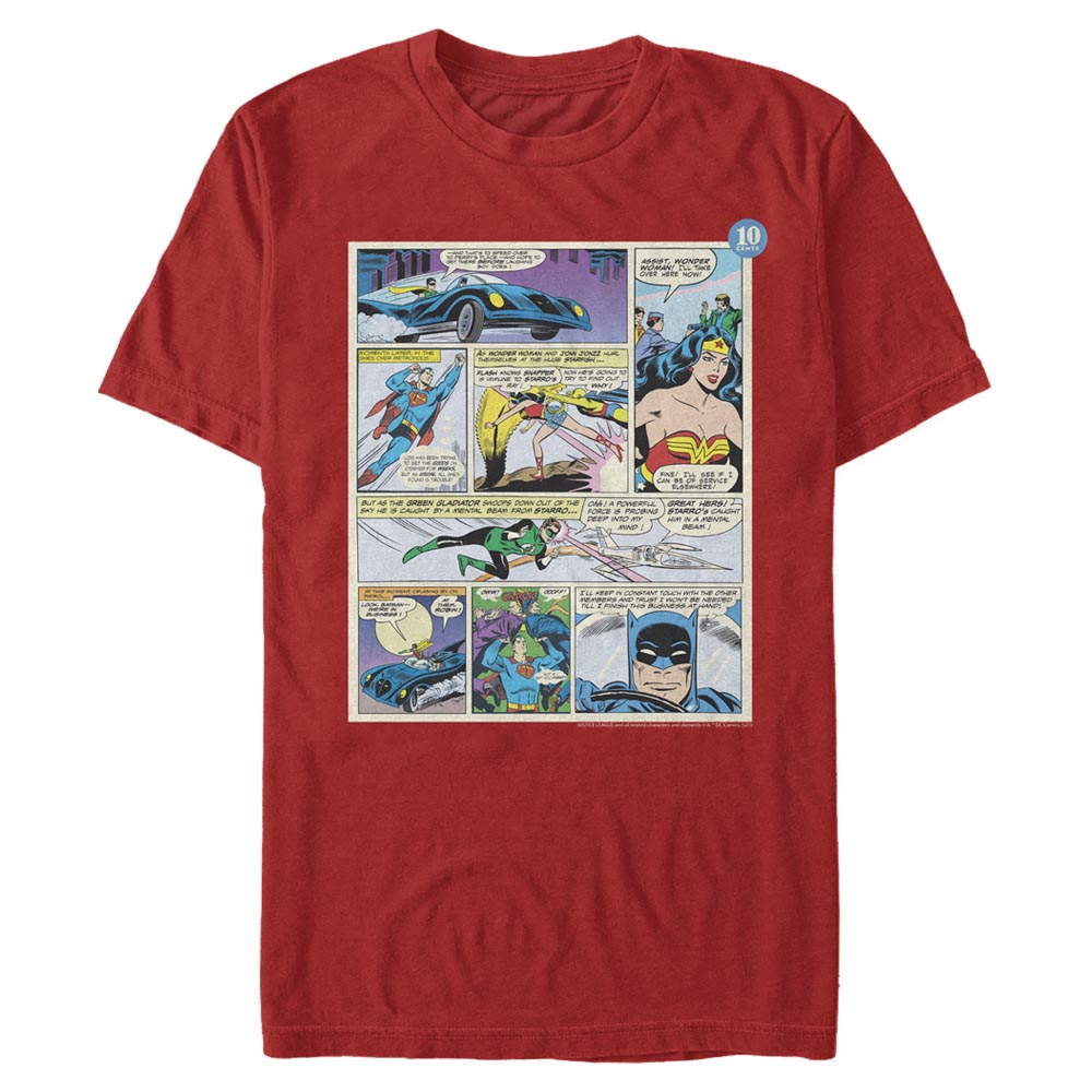 Red Justice League Comic Panels T-Shirt Image