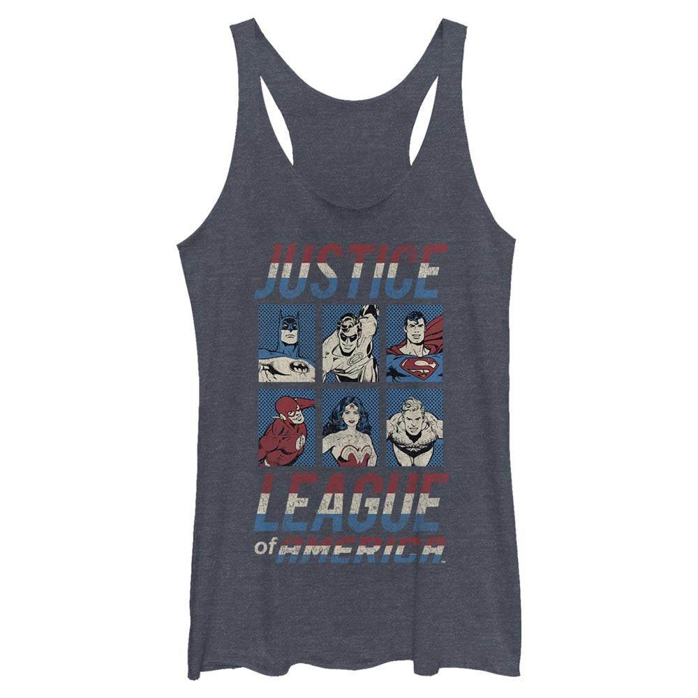 JUSTICE LEAGUE OF AMERICA CHARACTER Women's Racerback Tank