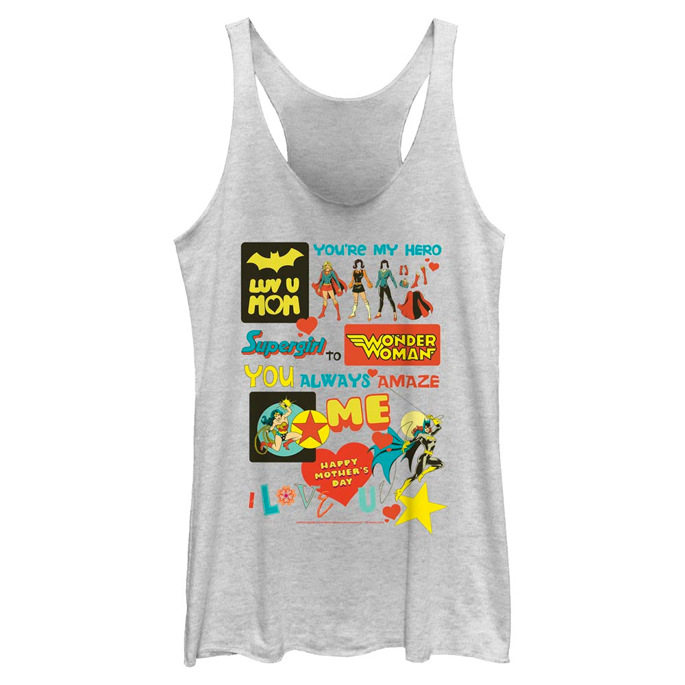 White Heather DC MOTHER'S DAY You're My Hero Women's Racerback Tank Image
