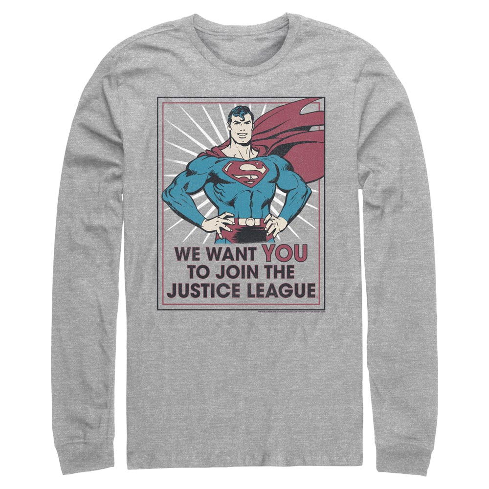 Grey Heather DC AMERICANA Join the Justice League Long Sleeve Tee Image