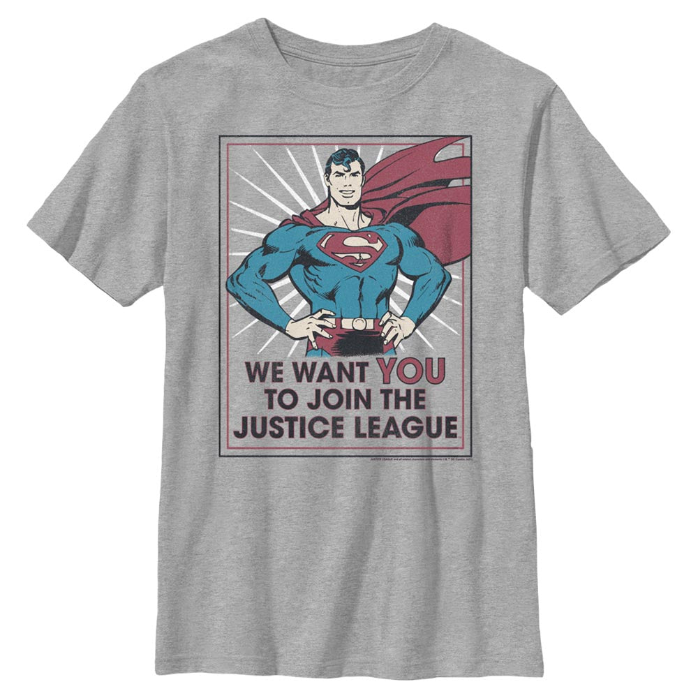 Grey Heather DC AMERICANA Join the Justice League Kids' T-Shirt Image