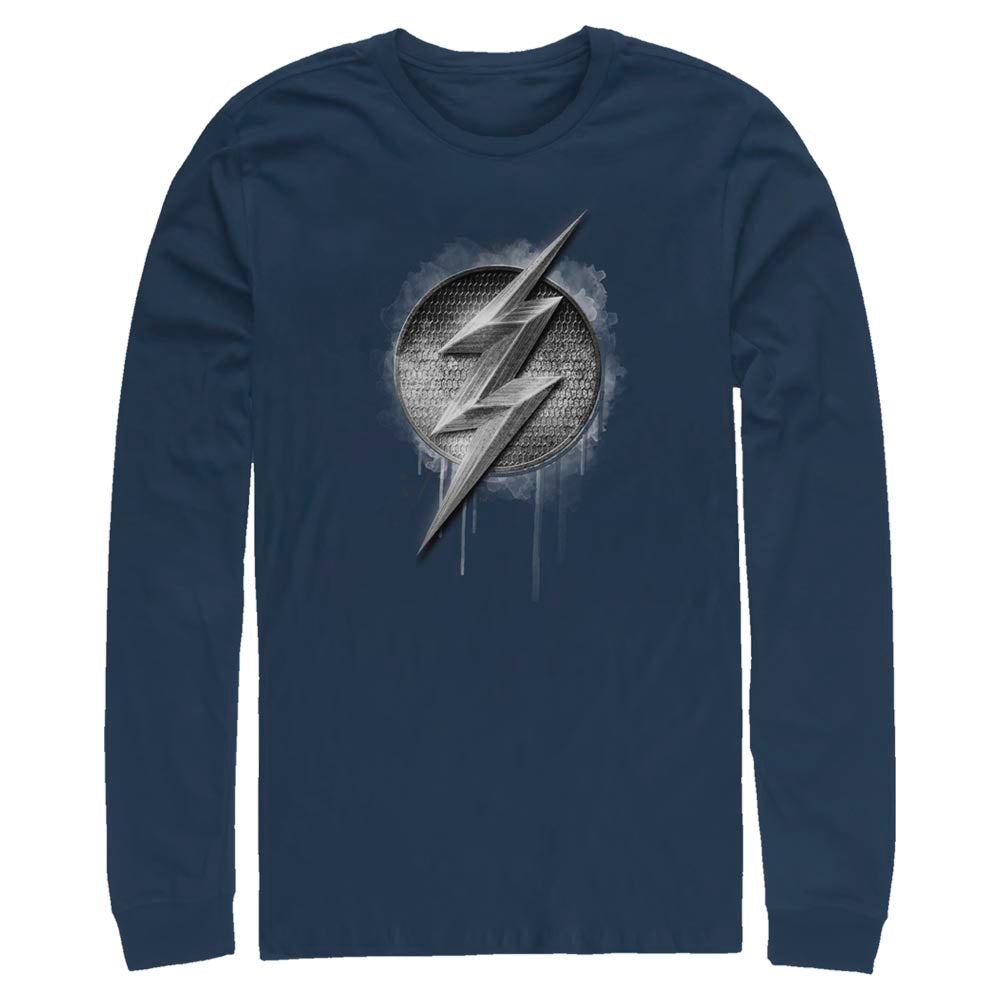 Navy JUSTICE LEAGUE The Flash Silver Logo Long Sleeve Tee Image