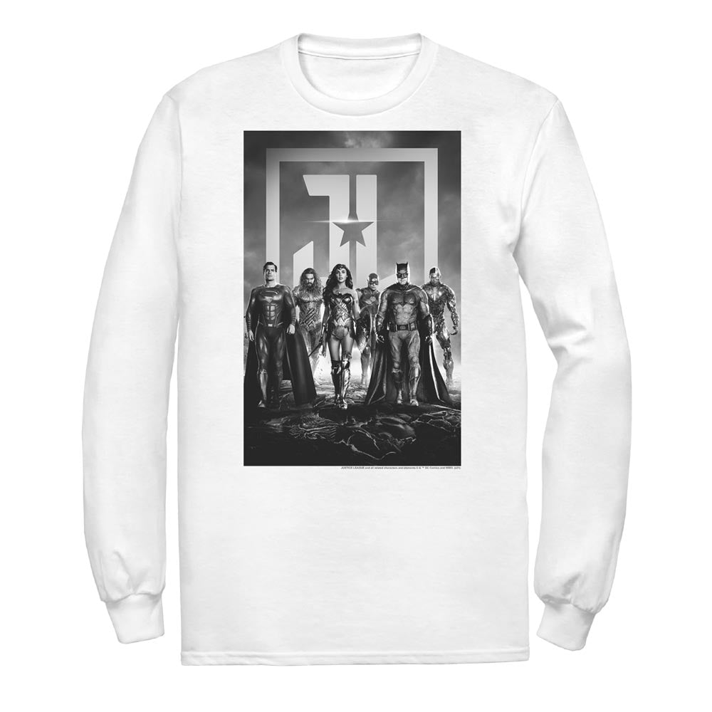 White JUSTICE LEAGUE Poster Long Sleeve Tee Image