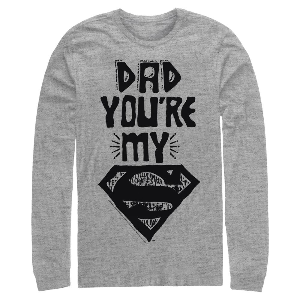 Grey Heather DC FATHER'S DAY Dad You're My Superman Long Sleeve Tee Image