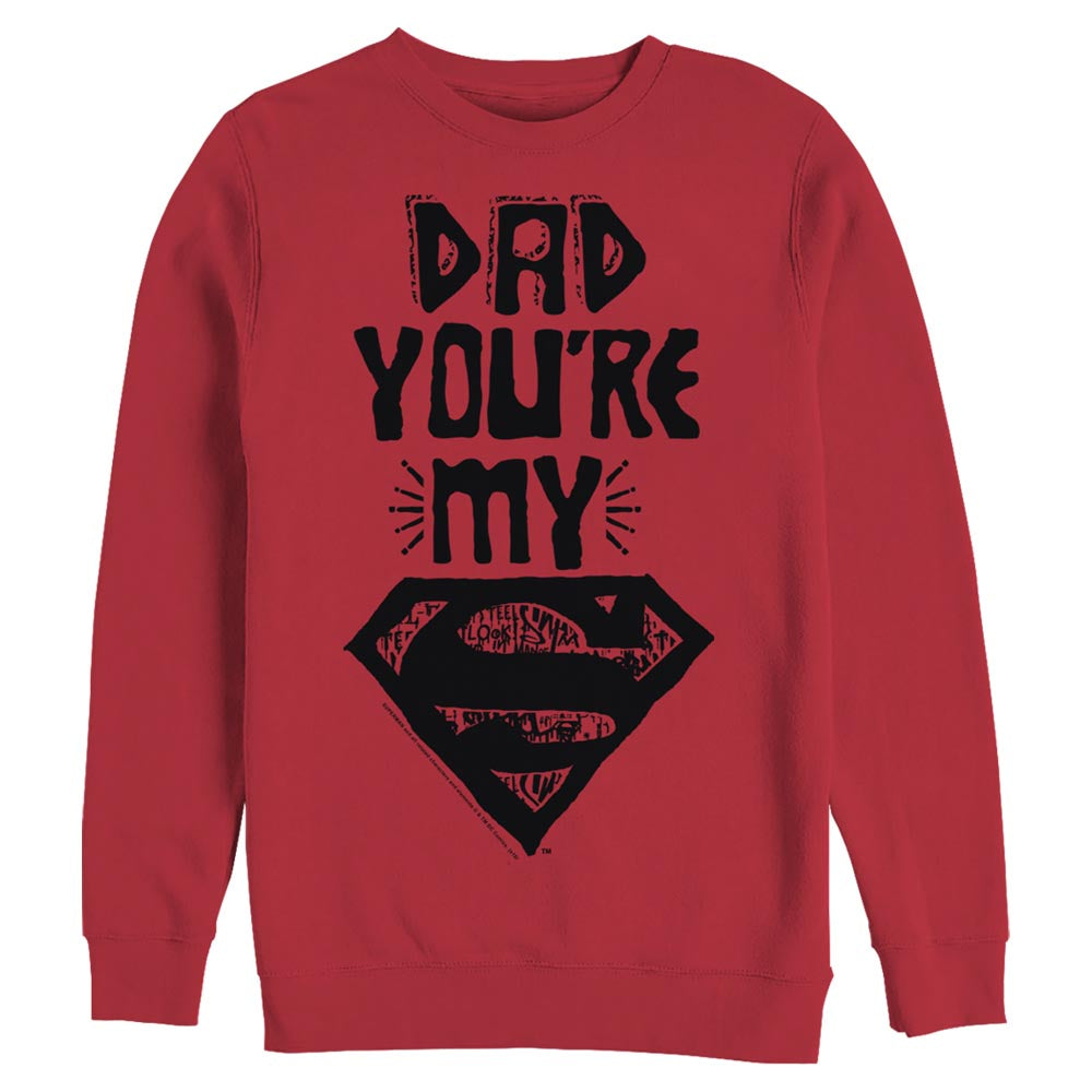 Red DC FATHER'S DAY Dad You're My Superman Crew Sweatshirt Image