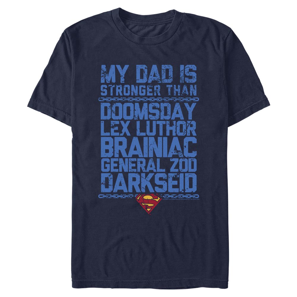 Navy DC FATHER'S DAY Superman My Dad is Stronger T-Shirt Image