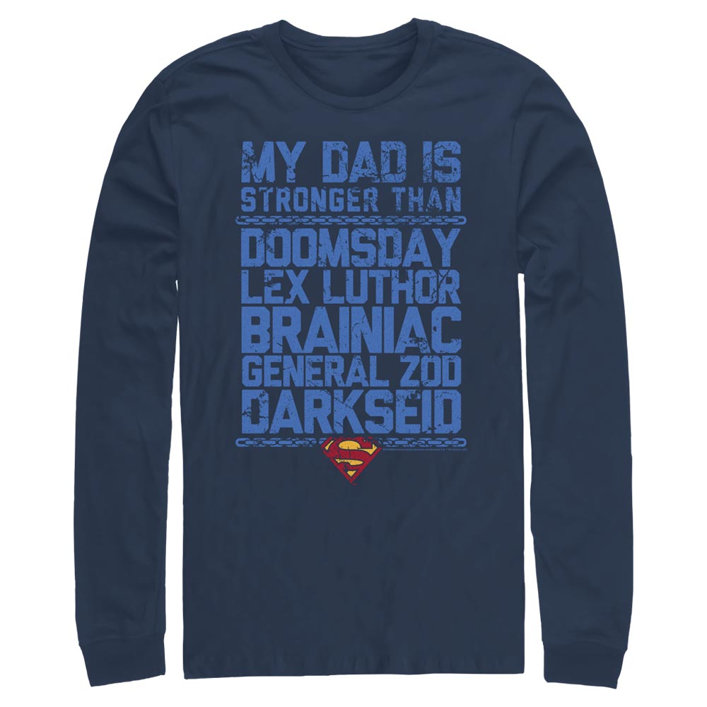 Navy DC FATHER'S DAY Superman My Dad is Stronger Long Sleeve Tee Image