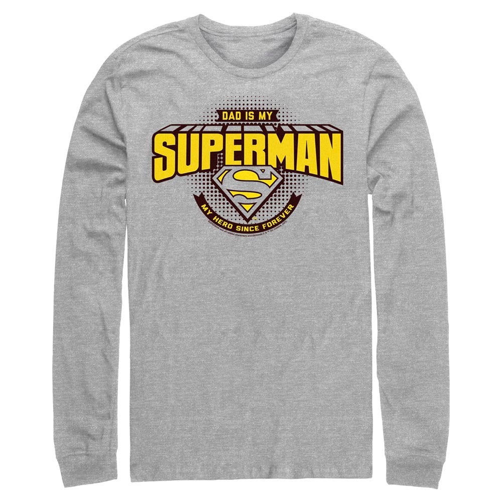 Grey Heather DC FATHER'S DAY Dad Is My Superman Long Sleeve Tee Image
