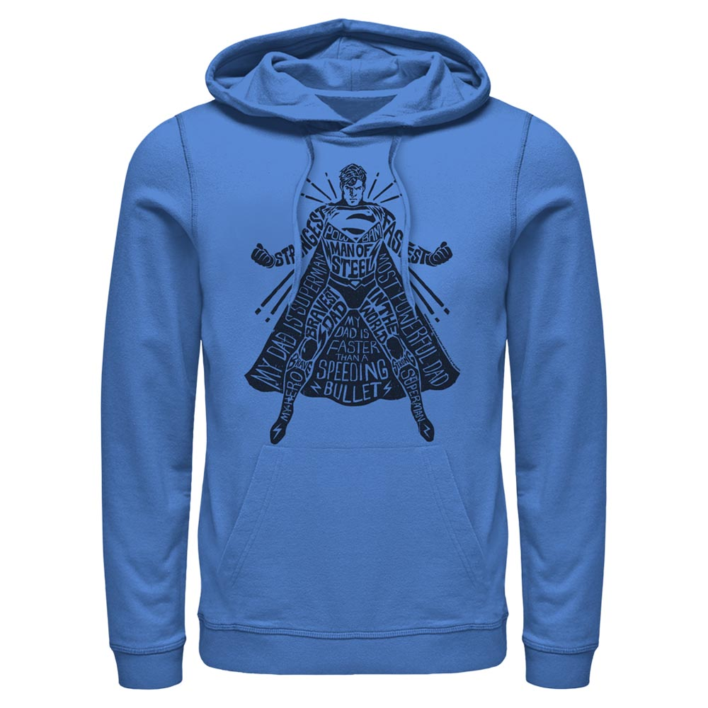 Royal Blue DC FATHER'S DAY Superman Text Hoodie Image