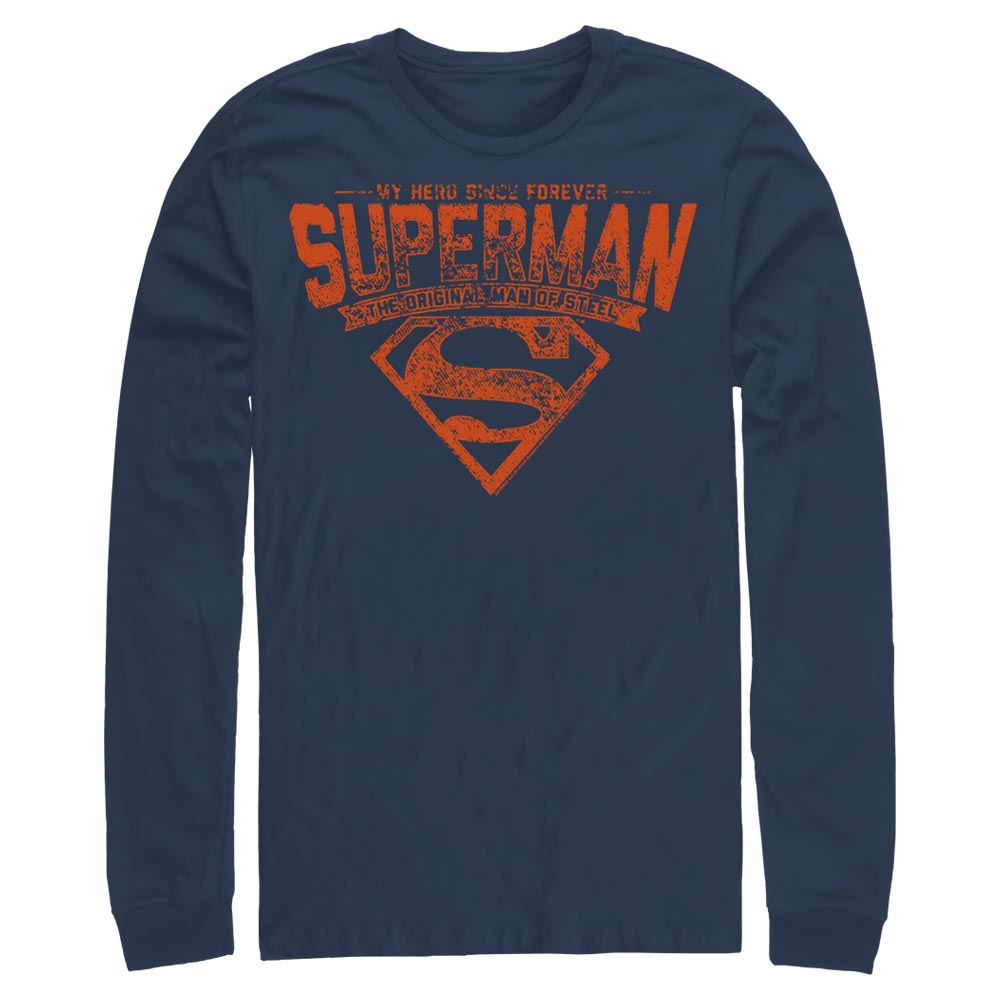 Navy DC FATHER'S DAY Superman Forever Hero Long Sleeve Tee Image