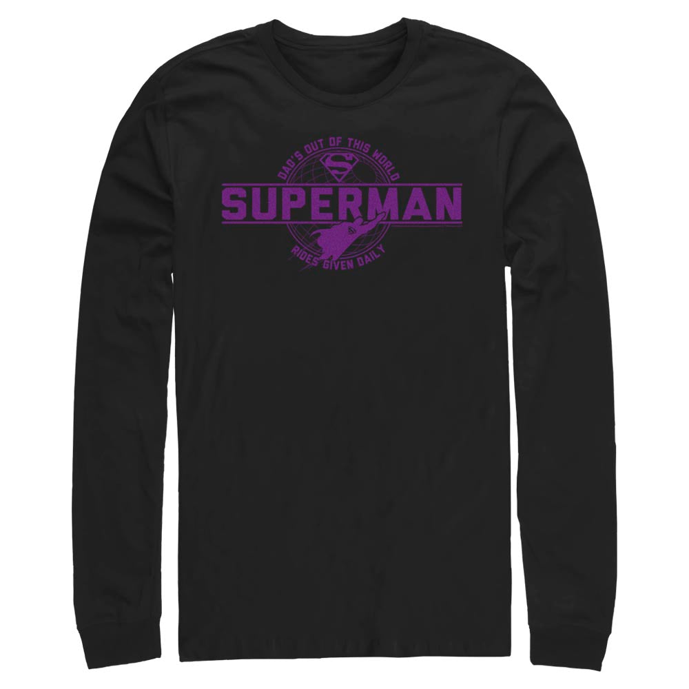 Black DC FATHER'S DAY Superman Out of This World Long Sleeve Tee Image
