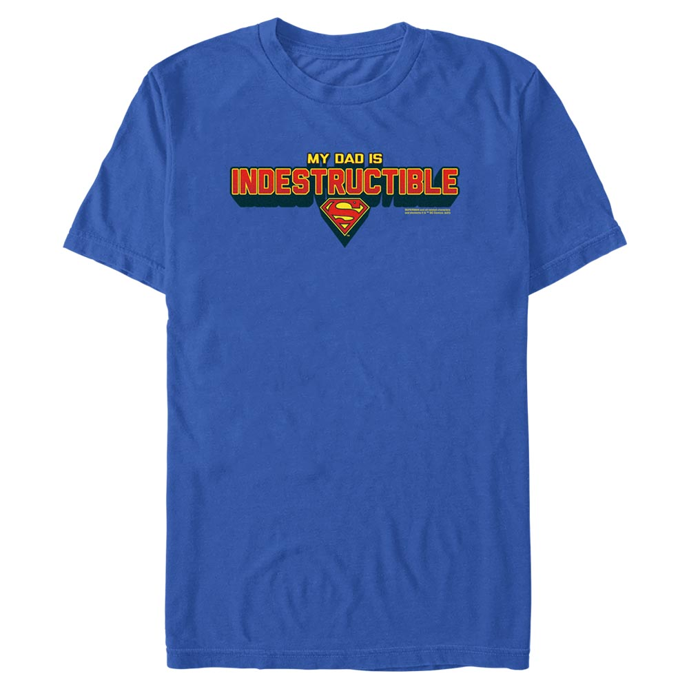 Royal Blue DC FATHER'S DAY Superman My Dad Is Indestructible T-Shirt Image