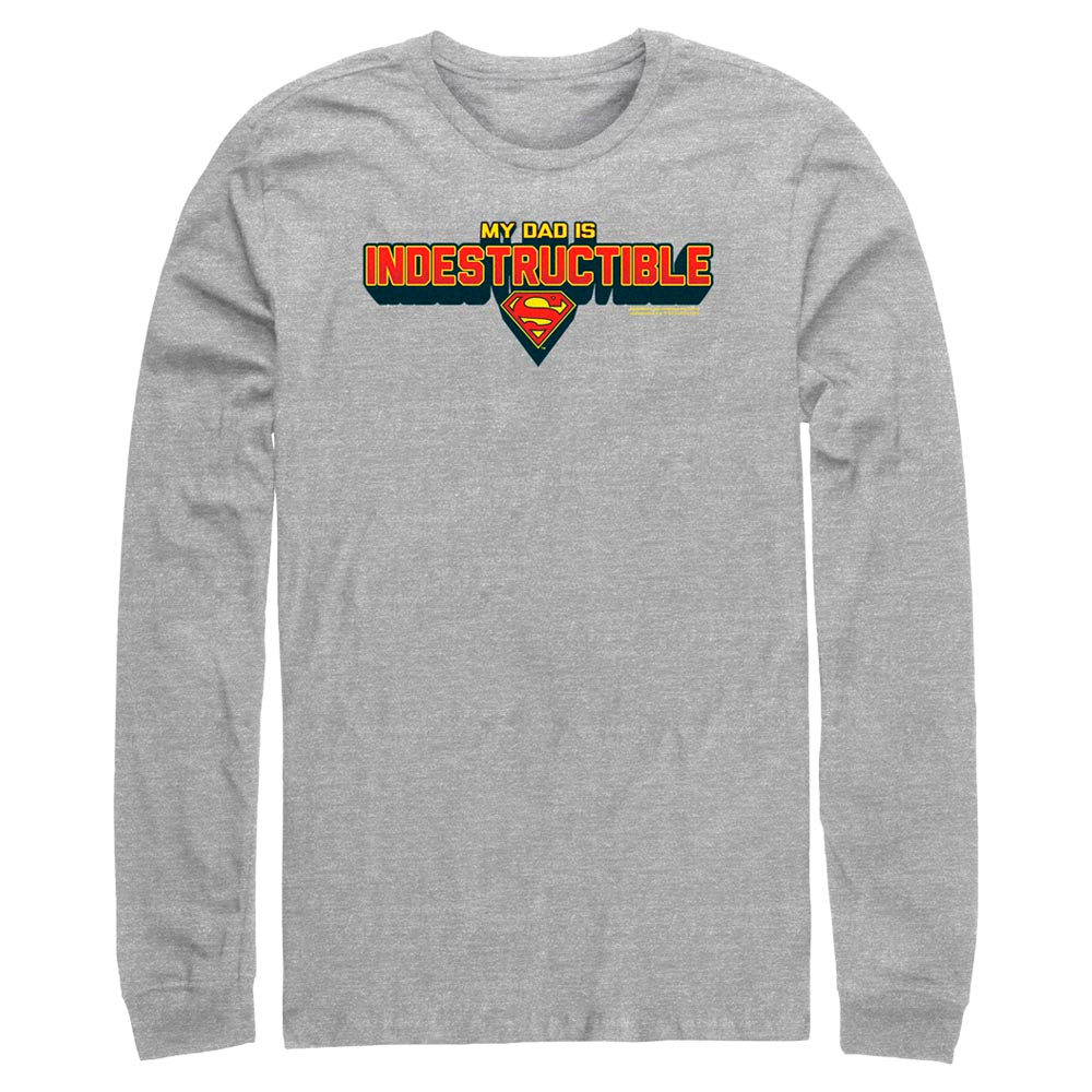 Grey Heather DC FATHER'S DAY Superman My Dad Is Indestructible Long Sleeve Tee Image
