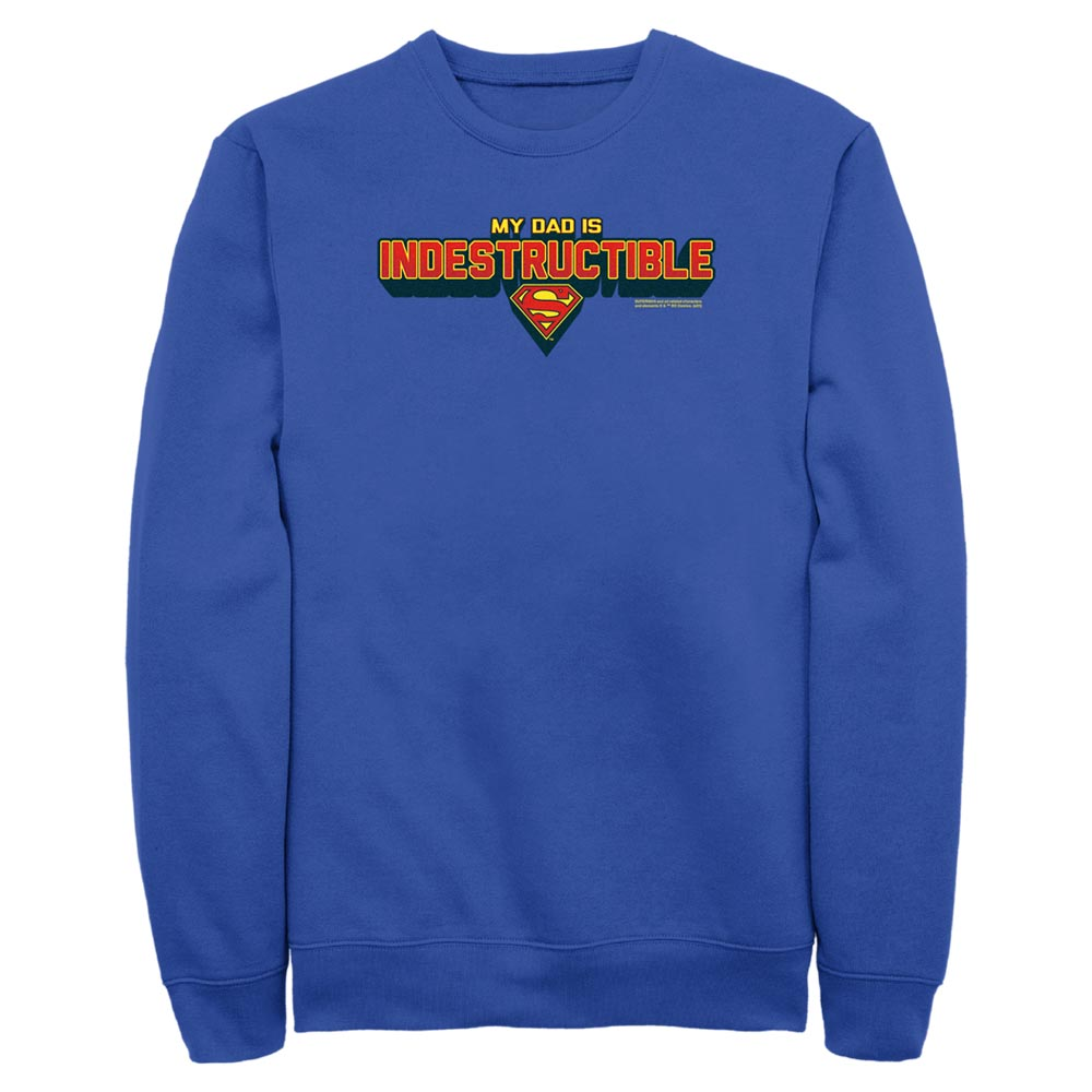 Royal Blue DC FATHER'S DAY Superman My Dad Is Indestructible Crew Sweatshirt Image