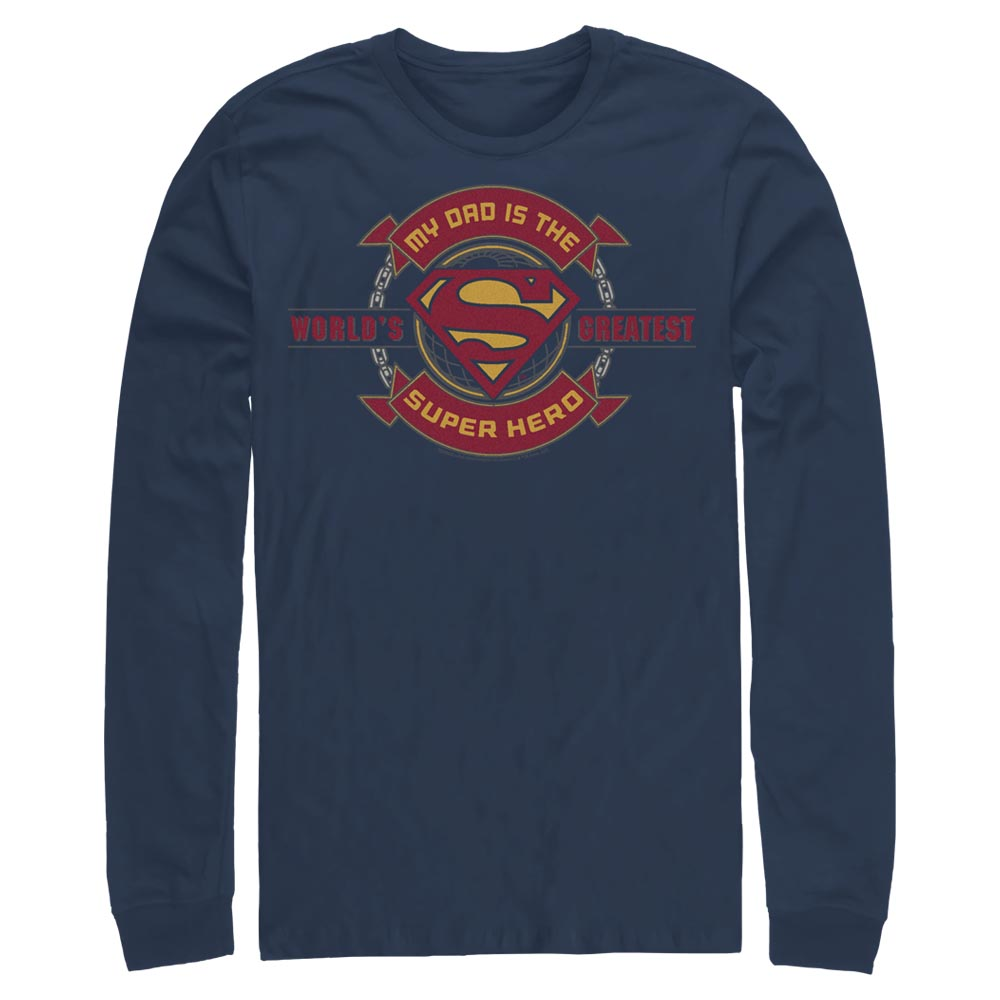 Navy DC FATHER'S DAY Superman World's Greatest Super Hero Long Sleeve Tee Image