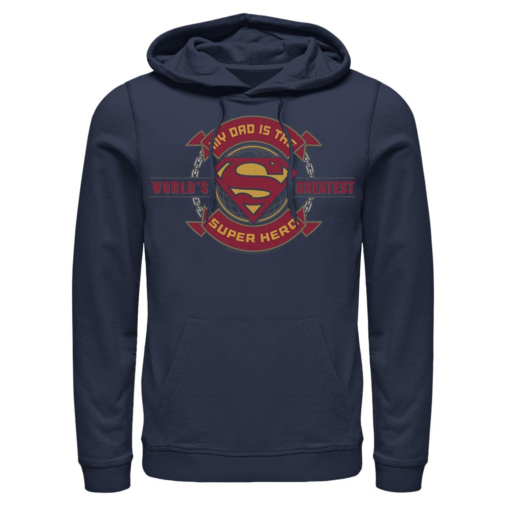 Navy DC FATHER'S DAY Superman World's Greatest Super Hero Hoodie Image