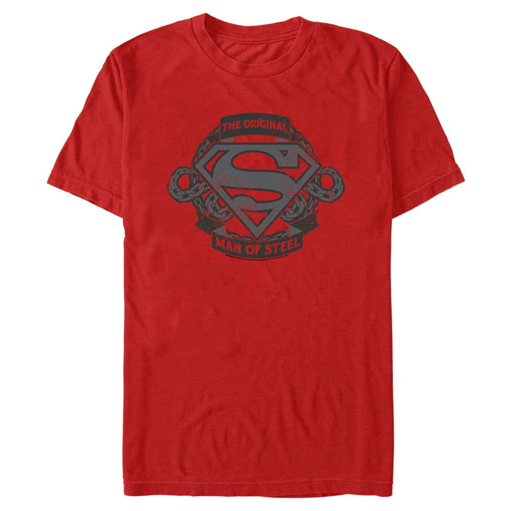 Red DC FATHER'S DAY Original Man of Steel Vintage Style T-Shirt Image