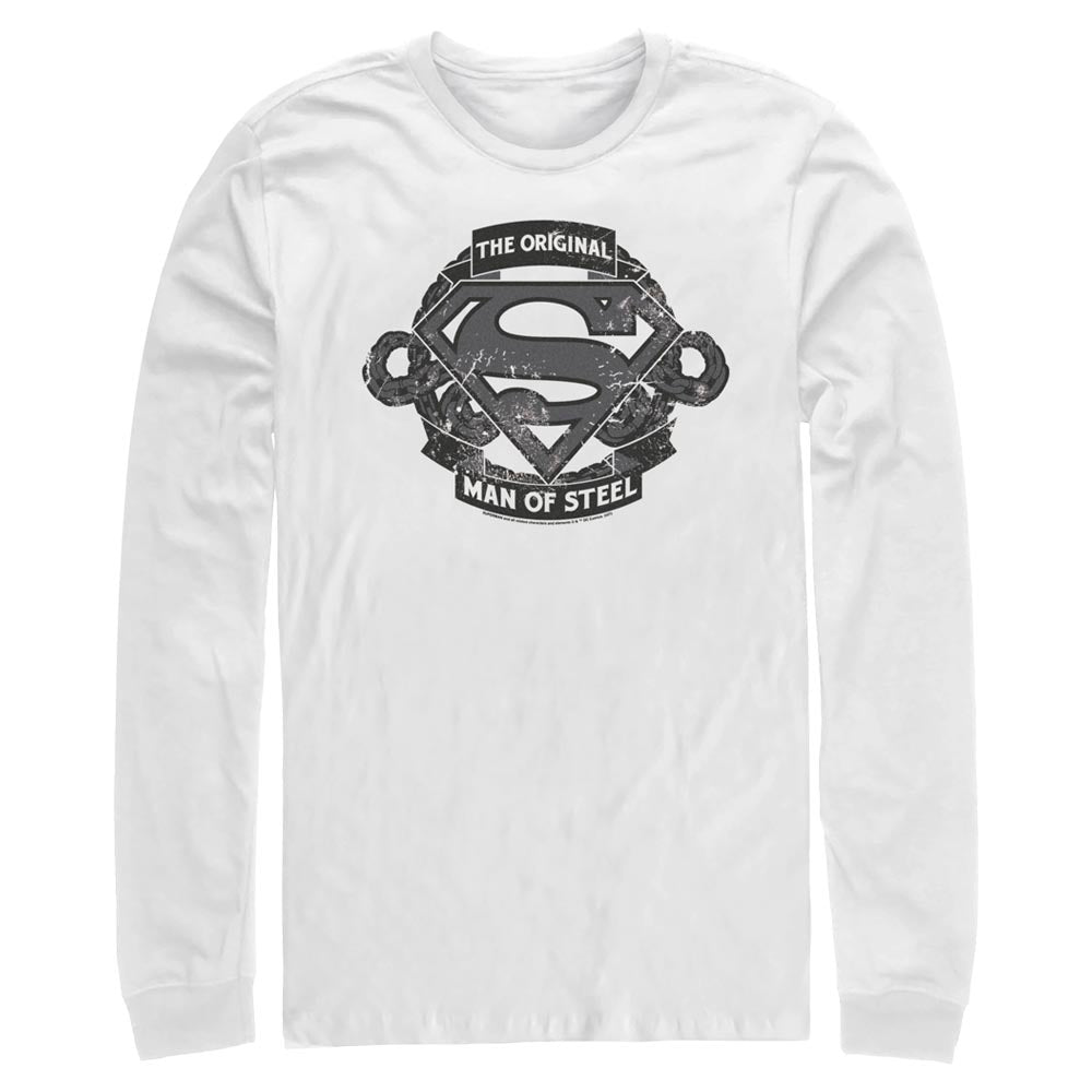 White DC FATHER'S DAY Original Man of Steel Vintage Style Long Sleeve Tee Image