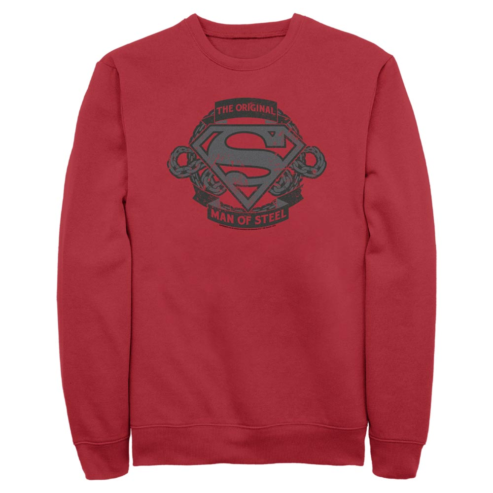 Red DC FATHER'S DAY Original Man of Steel Vintage Style Crew Sweatshirt Image
