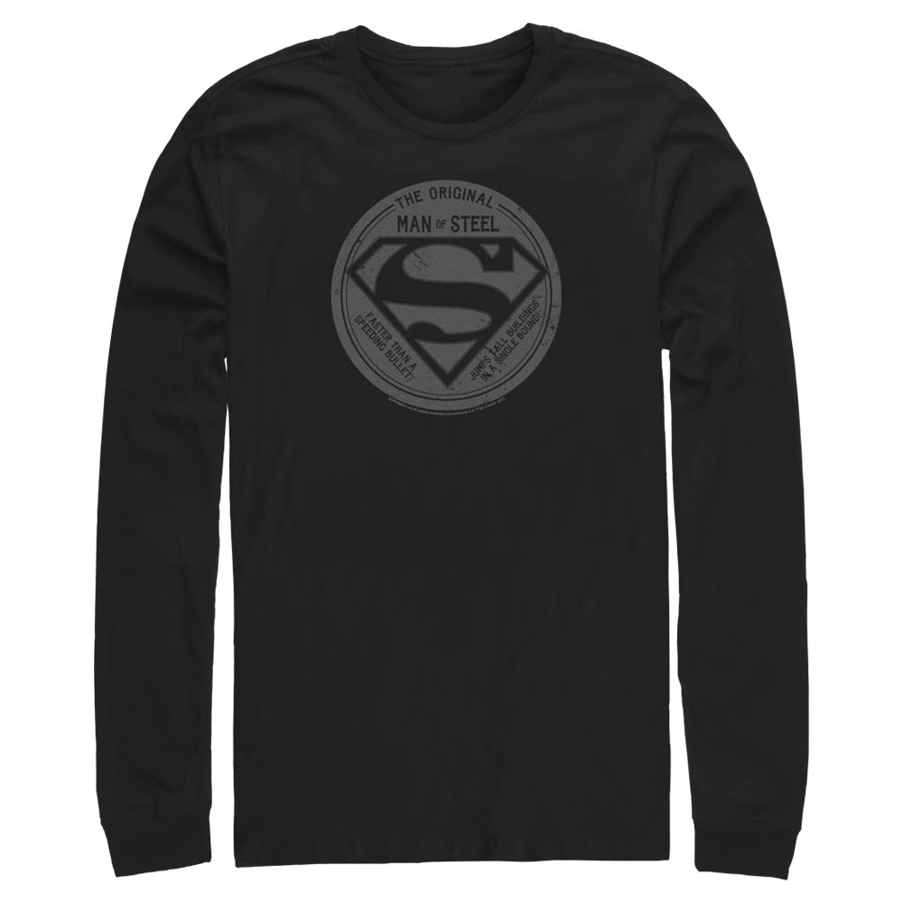 Black DC FATHER'S DAY Original Man of Steel Vintage Style Long Sleeve Tee Image