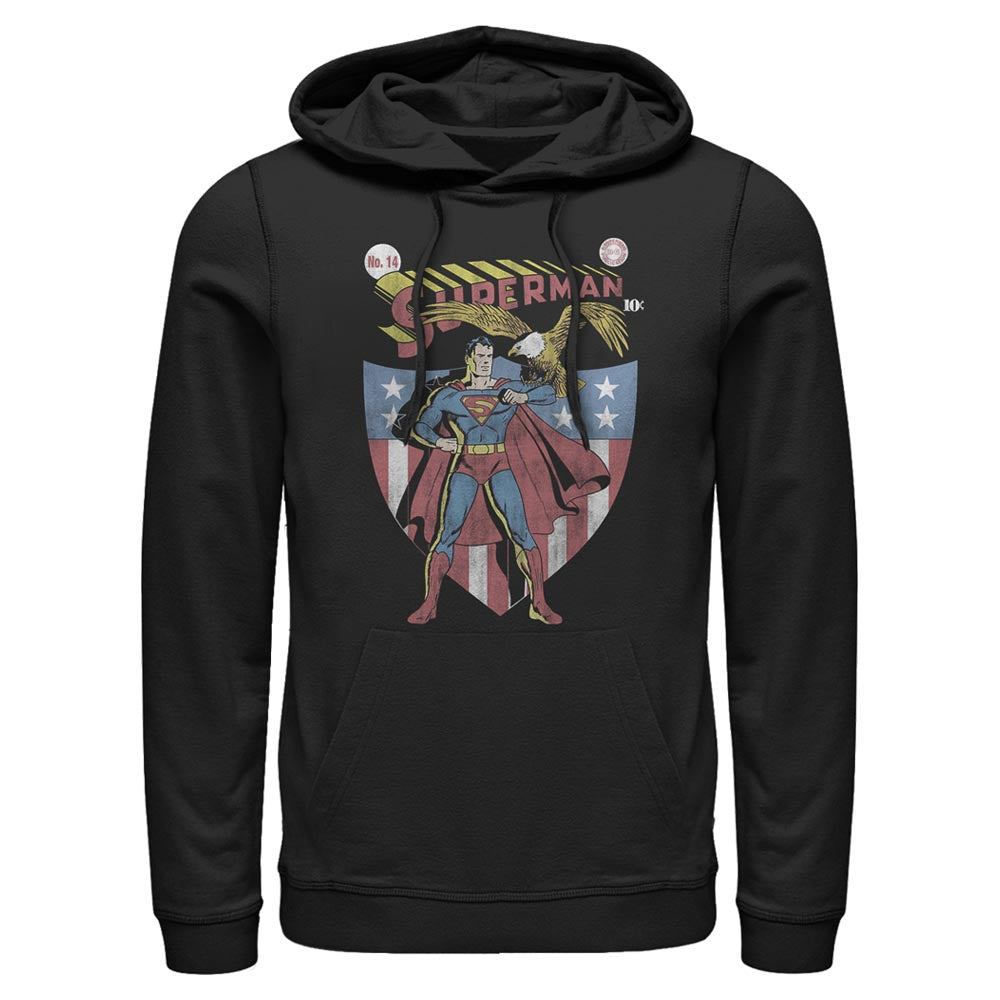 Black DC AMERICANA SUPERMAN with Eagle and Shield Hoodie Image