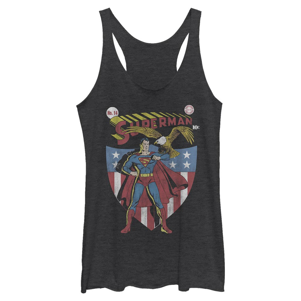 Black Heather DC AMERICANA SUPERMAN with Eagle and Shield Women's Racerback Tank Image