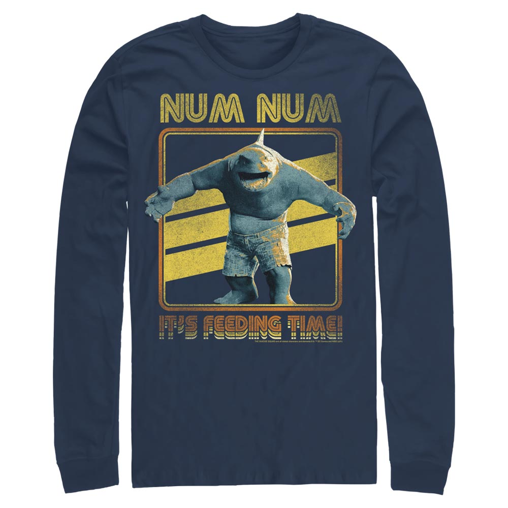 Navy THE SUICIDE SQUAD King Shark Feeding Time Long Sleeve Tee Image