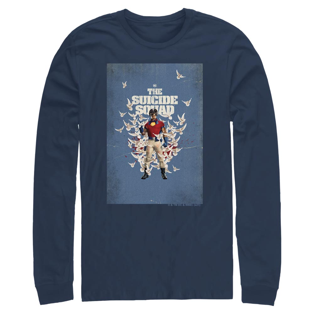 Navy THE SUICIDE SQUAD Peacemaker Poster Long Sleeve Tee Image