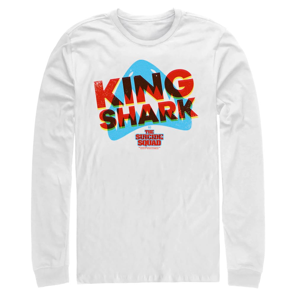 White THE SUICIDE SQUAD King Shark 3D Icon Long Sleeve Tee Image