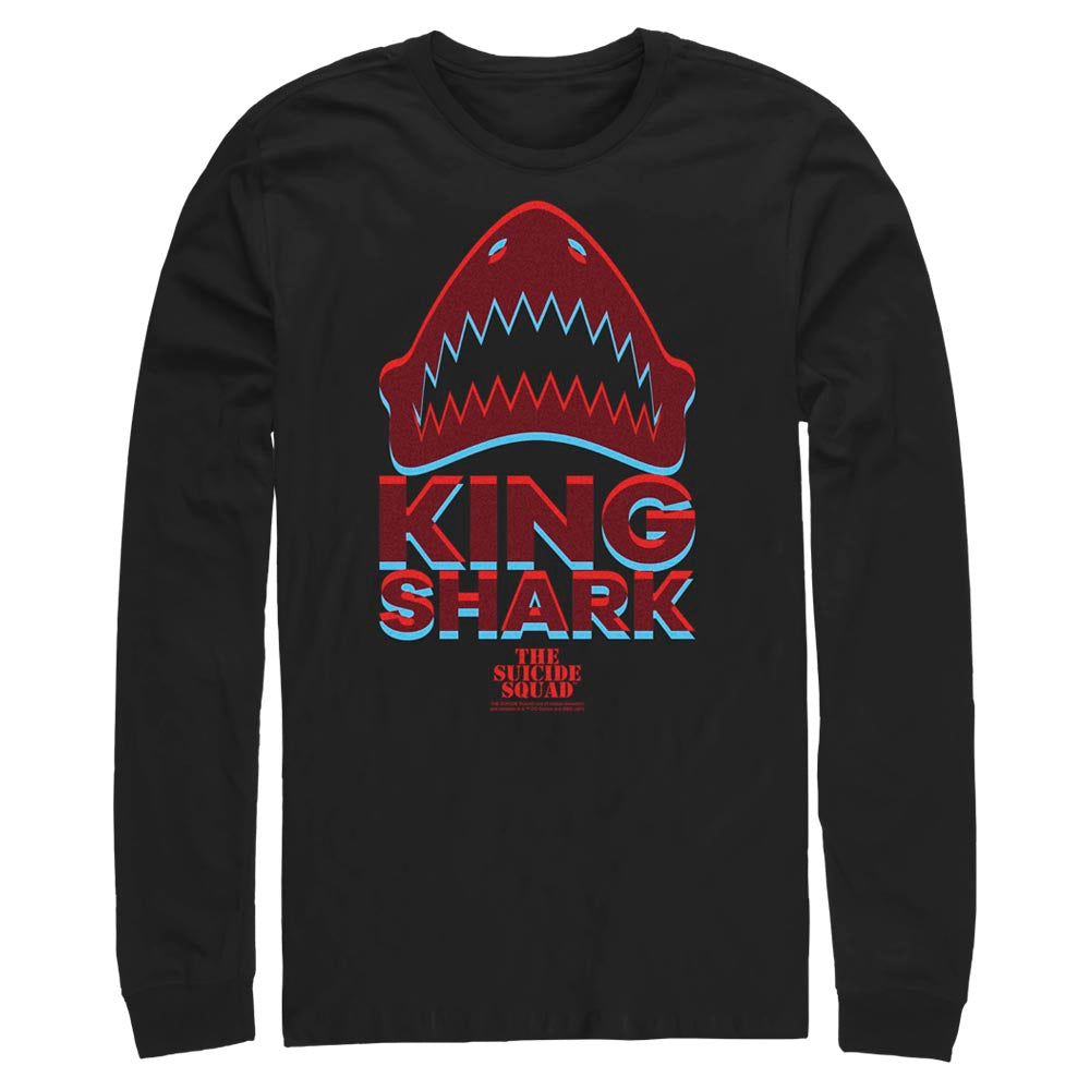 Black THE SUICIDE SQUAD King Shark Icon Long Sleeve Tee Image