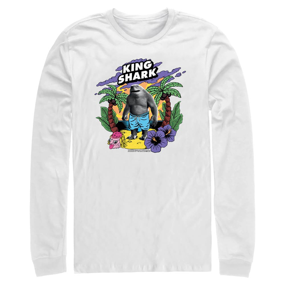 White THE SUICIDE SQUAD King Shark Tropical Long Sleeve Tee Image